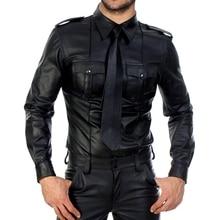 男性フェイクレザー長袖シャツpuレザーtシャツ男性セクシーなフィットネスゲイラテックスtシャツtシャツトップス男性セクシーなパーティークラブウェア