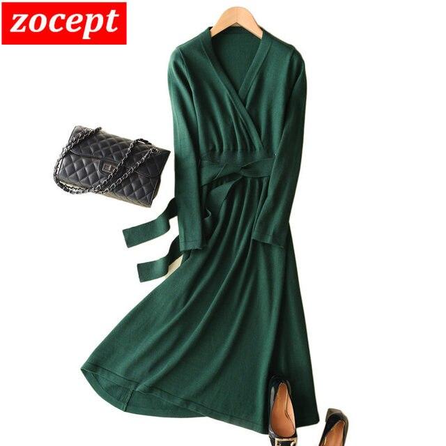 zocept Sexy V Neck Women Dress Autumn Winter Blend Cashmere Waist With Belt Casual Solid Long Sweater Dress Female Chic Vestidos