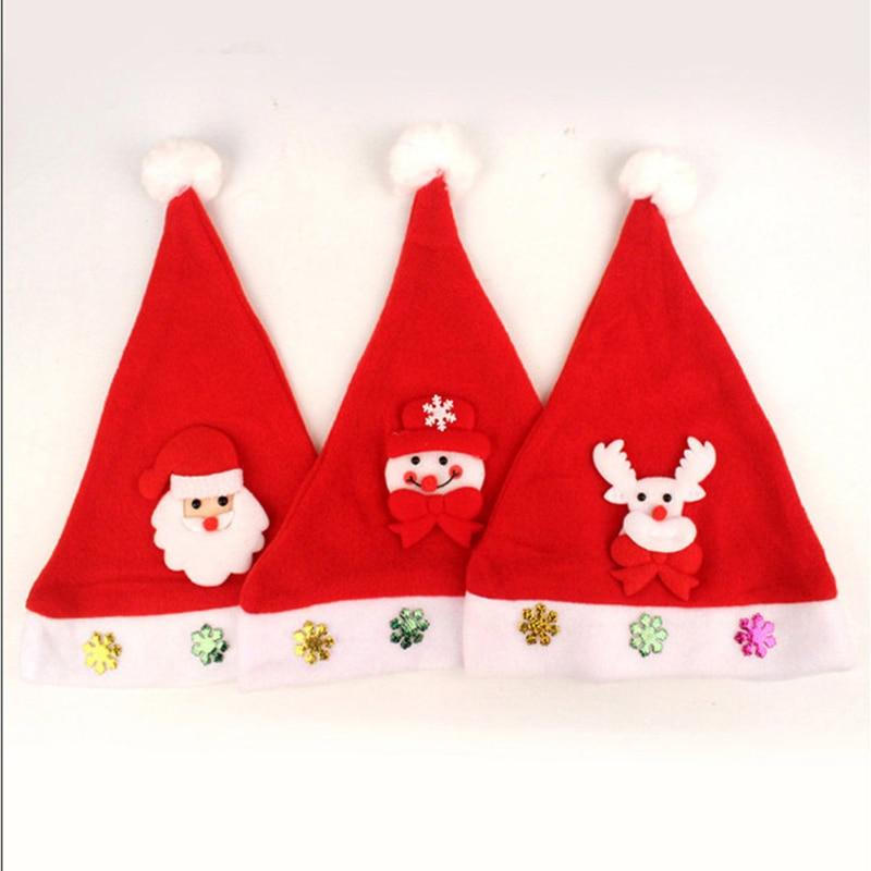 Selling 5PCS Christmas Hat Santa Claus Decoration Cap Child Adult Christmas Eve Headdress Felt Snowman Reindeer Design LED Light