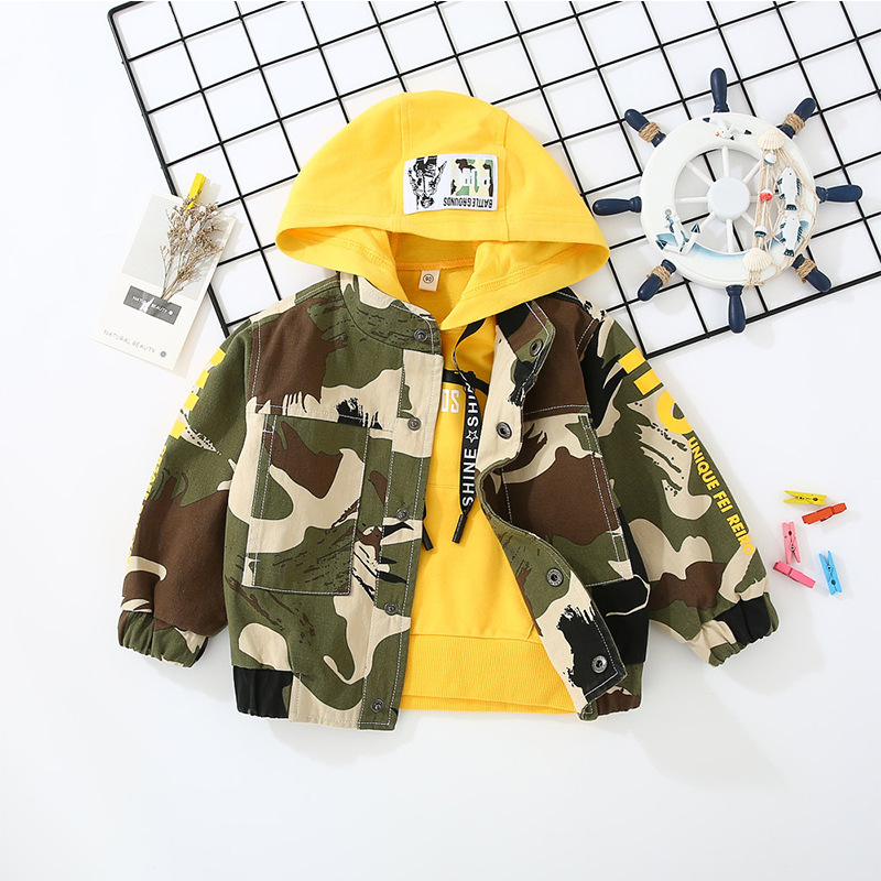 Printemps automne garçon vêtements ensembles coton enfants sweatshirts à capuche + manteau Camouflage 2 pièces bambin sport vêtements enfants vêtements