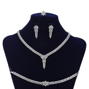 Image 2 - תכשיטי סט HADIYANA טרנדי נשים חתונה מסיבת Fahion שרשרת עגילי טבעת וצמיד סט זירקון CN1524 Conjunto דה joyas