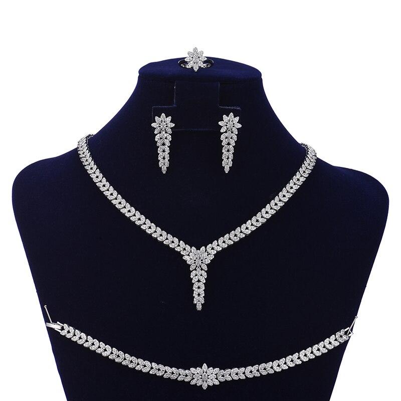Image 2 - Jewelry Set HADIYANA Trendy Women Wedding Fahion Party Necklace  Earrings Ring And Bracelet Set Zircon CN1524 Conjunto de joyasJewelry  Sets