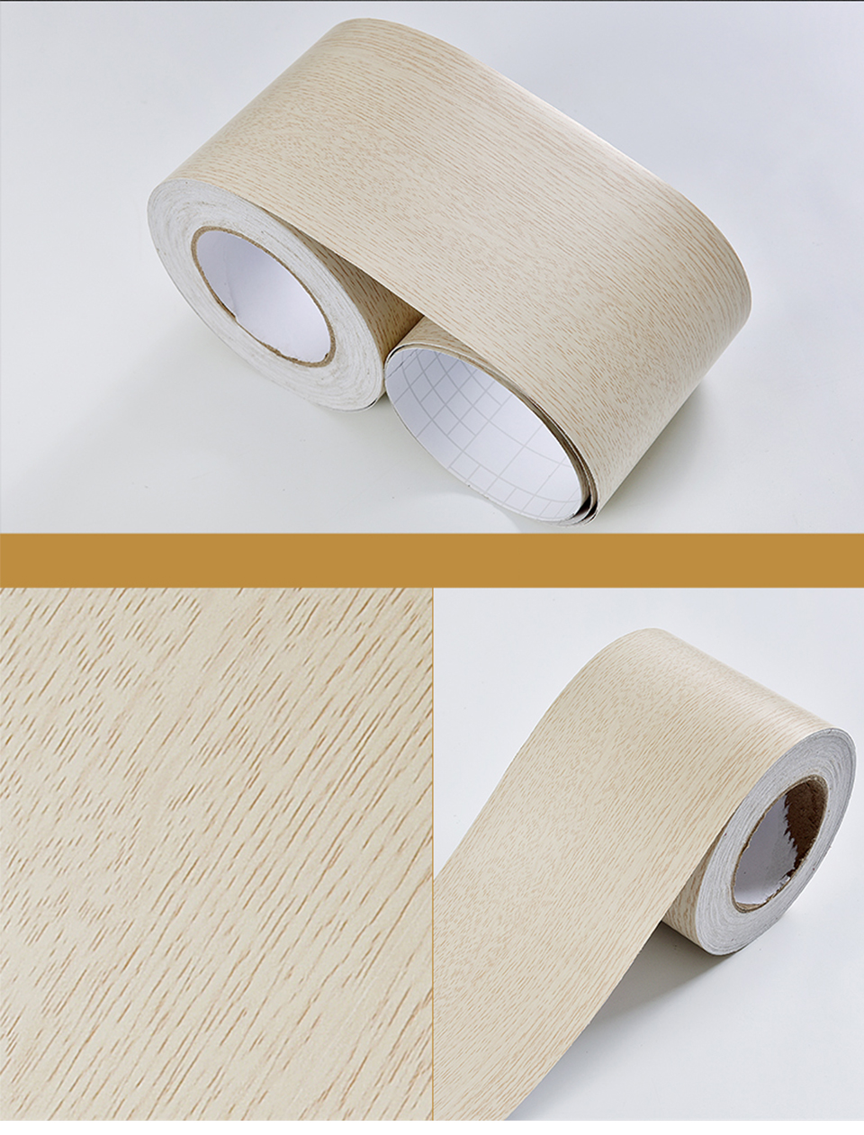 Wood Self Adhesive Window Decal Living Room Floor Border Skirting Contact Paper Waterproof Waist Line Wallpaper Home Improvement H5f93eb039b9842e7a946a5b8ed708814T