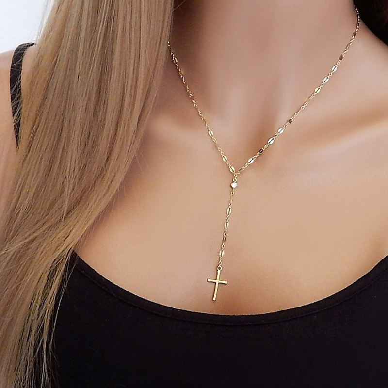Minimalist Cross Necklace Women Chain High Quality Ladies Necklaces Pendant Jewelry Silver Color Vintage Elegant Metal Collier