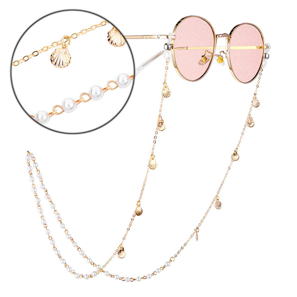 แว่นตากันแดดผู้หญิงแว่นตา CHAIN brillenkoord cadena gafas แว่นตาไข่มุกแว่นตาอุปกรณ์เสริมทองห่วงโซ่แว่นตา D40