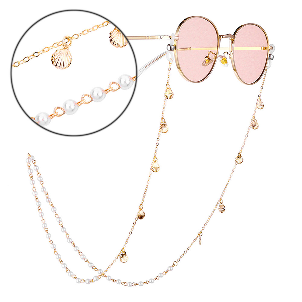 Sunglasses Chain Women Glasses Chain Brillenkoord Cadena Gafas Glasses Holder Pearls Glasses Accessories Gold Eyeglass Chain D40