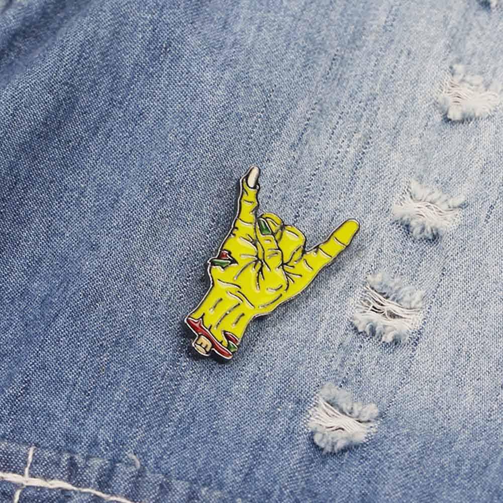 1 ADET Karikatür Siyah Emaye Pin Toka Palm El Broş Ceket Gömlek Yaka Yaka Rozeti Hediye erkek kız çocuklar için