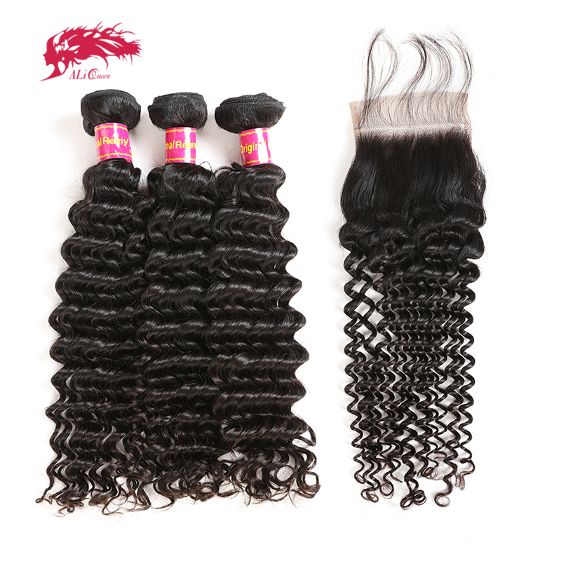 3Pcs Brazilian Deep Wave Remy Human Hair Bundles With Closure Frontal Free Part Lace Closure Ali Queen Hair Natural Color