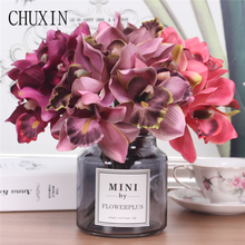 Artificial flowers 7 head orchid  home decoration hotel table fake flower decoration wedding bride bridesmaid holding bouquet
