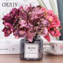 Yapay çiçekler 7 kafa orkide ev dekorasyon otel masa sahte çiçek dekorasyonu düğün gelin nedime holding buket