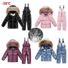 Ropa de invierno rusa para niños, chaqueta de plumas para niñas, ropa de exterior y abrigo para niños, trajes de nieve impermeables, 2019
