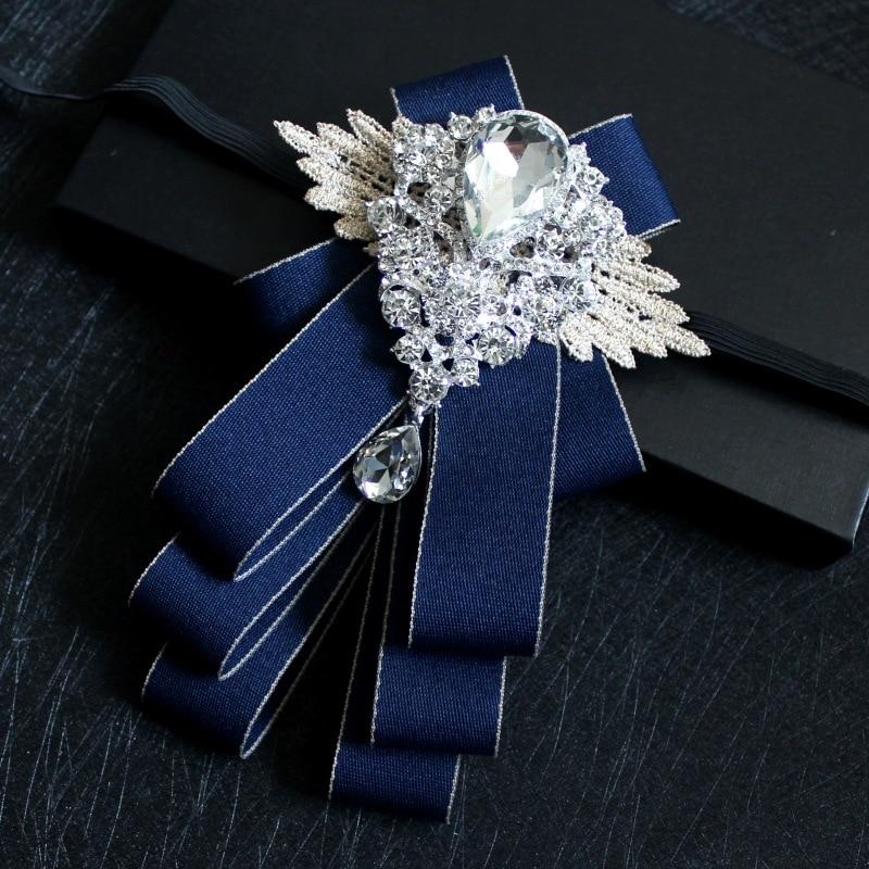 High-grade Handmade Diamond British Style Bow Ties Groom Groomsman Dress Suit Rhinestone Bowtie For Men Wedding Accessories