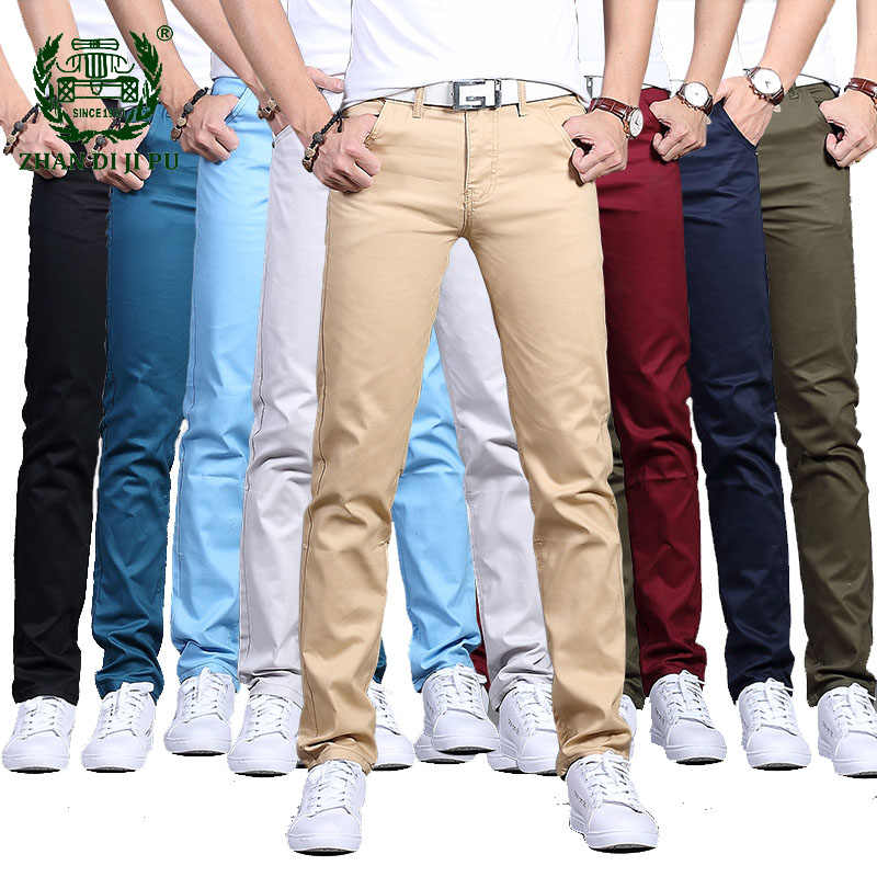 Pantalones Casuales Para Hombre Primavera Otono Algodon Slim Fit Pantalones Chinos De Moda Para Hombre 2020 Nueva Ropa De Marca 8 Colores De Talla Grande 28 38 Pantalones Informales Aliexpress