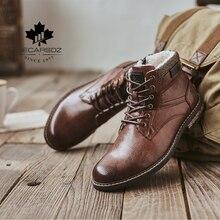 DECARSDZ Men Snow Boots Men TPR Durable Outsole Leather Shoes Men 2020 New Fashion Short Plush Warm Fur Winter Boots Mens Boots