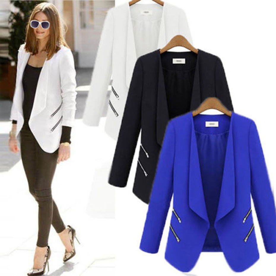 ZOGAA 2019 Hot Women Suit Blazer Office Casual Double Breasted Pocket Jacket Pure Elegant Long Sleeve Women Blazers And Coats