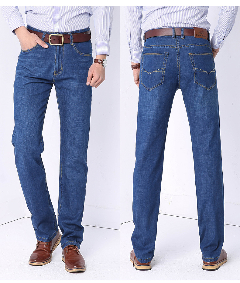 19 Jeans Men's Spring And Summer-High-waisted Loose Straight Middle-aged Business Casual Large Size Trousers
