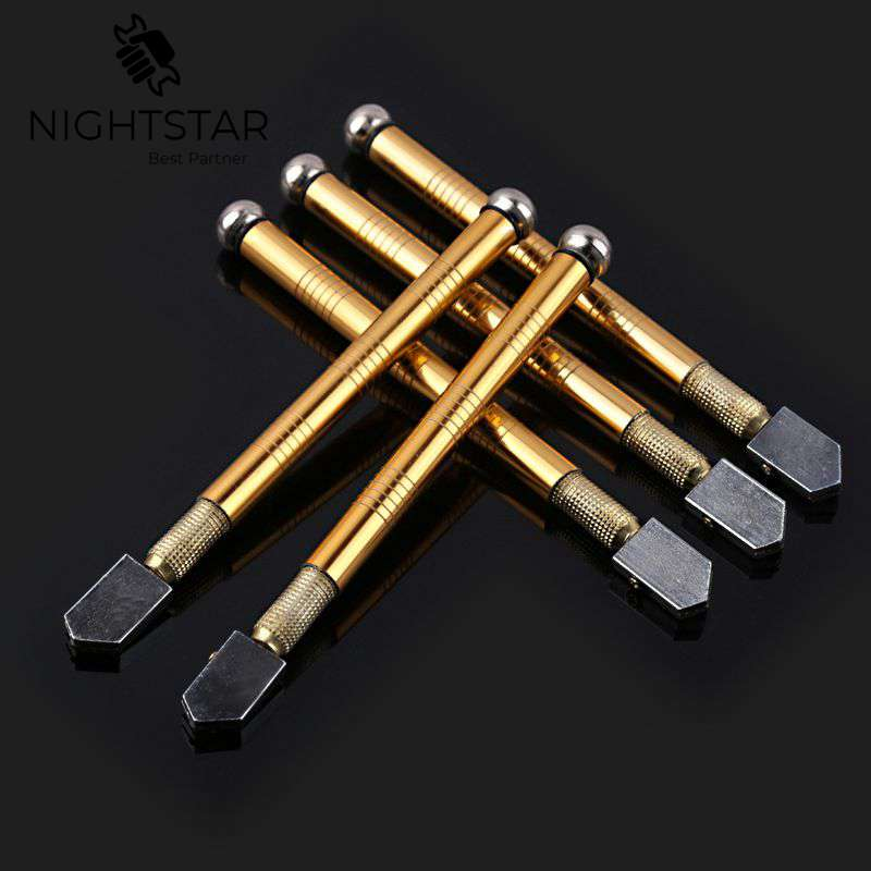Glass Cutter Diamond Tip Steel Blade Cutting Tool Oil Feed Glass Cutter Antislip Metal Handle 175mm For Hand Tool Glass Cutting