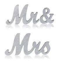 Práctico Boutique grande Vintage exquisito plata/dorado Mr & Mrs Signos De Madera letras independientes para boda Sweetheart Tab