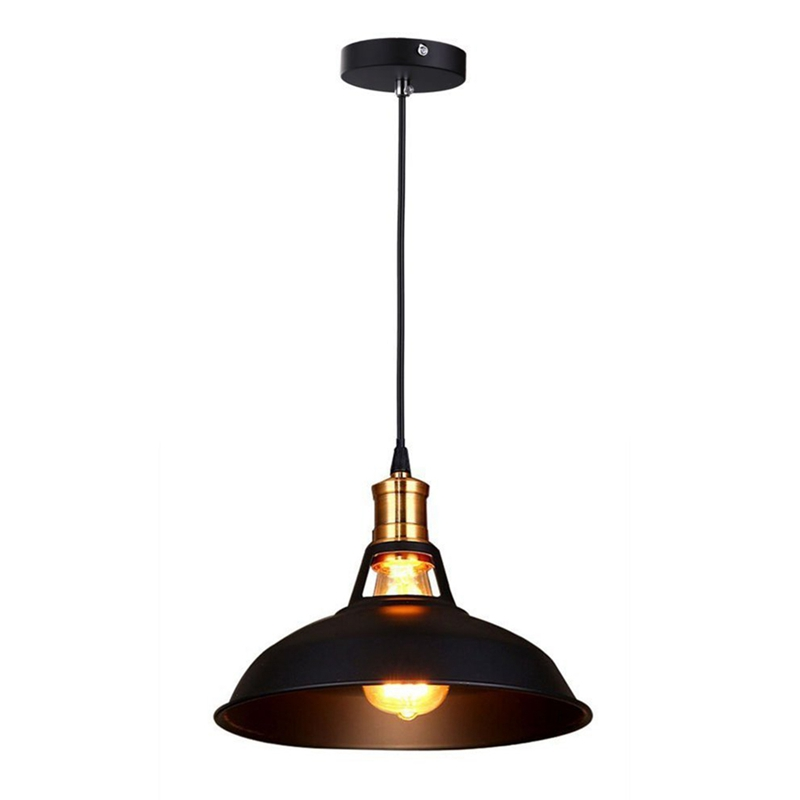 Retro Industrial Edison Simplicity Chandelier Vintage Ceiling Lamp With Metal Shiny Nordic Style Shade (Black)