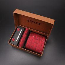 Роскошный Галстук Набор подарочных коробок для мужчин жаккардовый галстук и карман зажим прямоугольный запонки красный черный синий платок формальное платье
