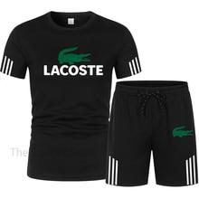 Спортивный костюм мужской из двух предметов, футболка и шорты, брендовая одежда для спорта, костюм для мужа, летняя одежда