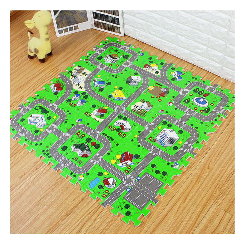 City Map Stitching Puzzle Baby Game Pad Green Foam Shatter-Resistant Anti-Skid Baby Crawl Climbing Mat Toy Car Road Floor Mat