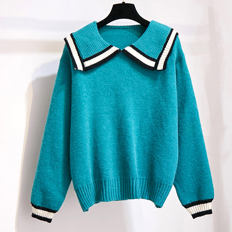 Casual Sweet Striped Sweater Women Autumn 2019 Crew Navy Neck Long Sleeve Loose Pullover Winter Knitted Ladies Jumper Blue