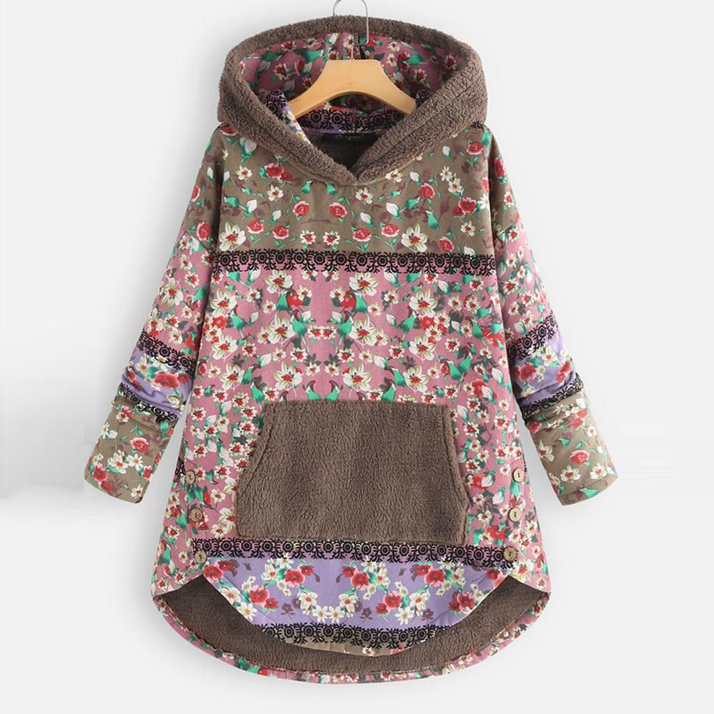 H5f94b7dbf5614cf8908c5fa3c8adda26W Female Jacket Plush Coat Womens Windbreaker Winter Warm Outwear Retro Print Hooded Pockets Vintage Oversize Coats Plus Size 5XL