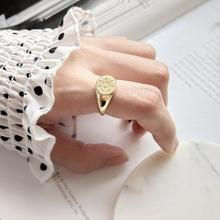 Filluck Retro Pattern Ring 925 Sterling Silver Round Ring Personality  Gold Color Silver Ring For Women Gift