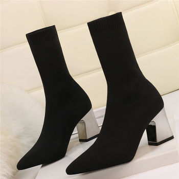 wetkiss 2018 new leather stretch women boots high heels sock bootie winter warm square toe shoes lady autumn high neck footwear 2020 Women Stretch Boots 7cm 9cm High Heels Fetish White Ankle Boots Stripper Low Heels Lady Warm Autumn Winter Chunky Shoes