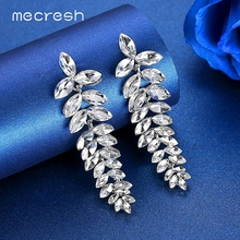 Mecresh Colorful Marquise Crystal Long Drop Earrings 2019 Fashion Party Jewelry Statement Leaf Summer Women Big MEH1579
