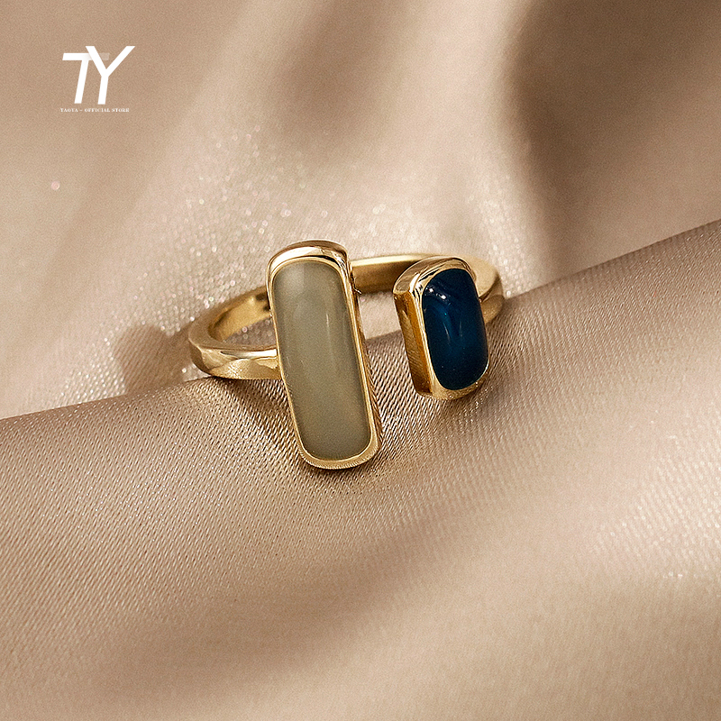 French Retro Romantic Color Matching Drop Glaze Gold Open Rings For Woman 2021 Korean Fashion Jewelry Party Girls' Luxury Ring