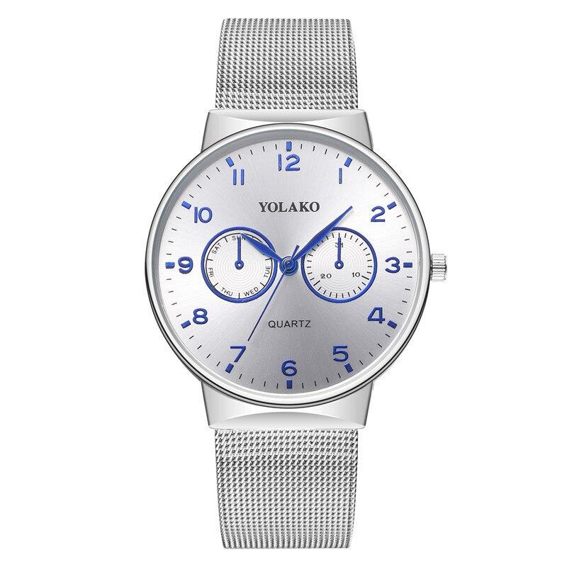 Yolako Steel Band Watch Shopee Hot Sale Men's Two Eye Alloy Watch Simple Quartz Couple Watch