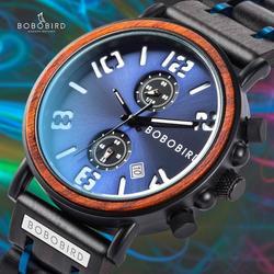 BOBO BIRD drewniany zegarek mężczyźni Top marka wodoodporne zegarki wojskowe w drewniane pudełko na prezent Luminous zegarek na rękę dla niego Dropshipping w Zegarki kwarcowe od Zegarki na