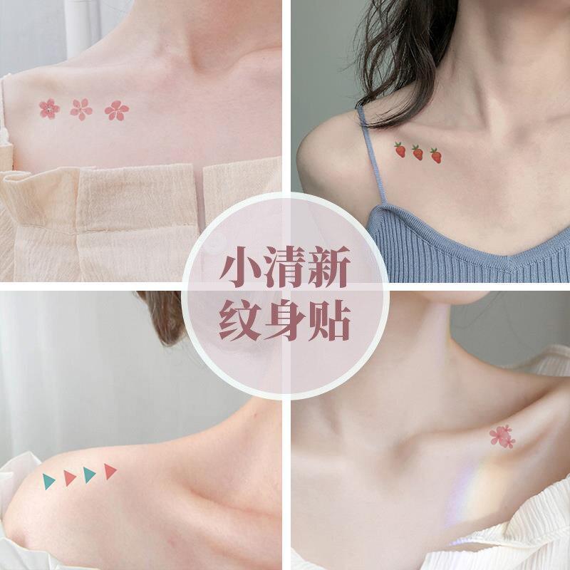 Tattoo Stickers 30 Sheets/ lot Kawaii Sticker Korean Style Ins Flowers Rainbow Tattoo Stickers Cartoon Decoration Stickers 4