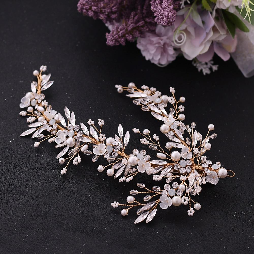 Купить с кэшбэком TRiXY H280 Luxury Gold Flower Bridal Hair Accessory Bridal Hair Jewelry Wedding headpiece Bridal Hair Accessory Bride Hair Tiara