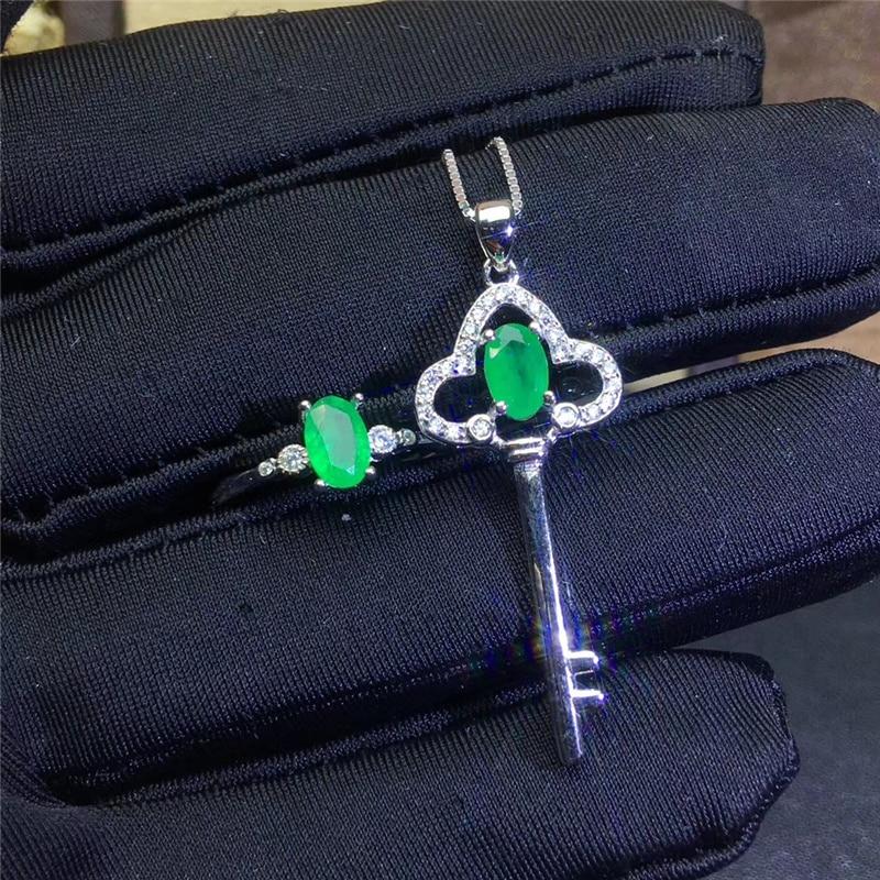 PROCOGEM 5A Smeraldo Naturale set di gioielli per Le Donne Chiave Bella Gioielli set Genuino Verde Pietre Preziose argento 925 #744 - 3
