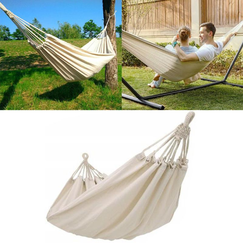 Double Hammock Outdoor Rollover Prevention Camping Canvas Hanging Swing Bed for Patio Travel Hiking 200x150cm
