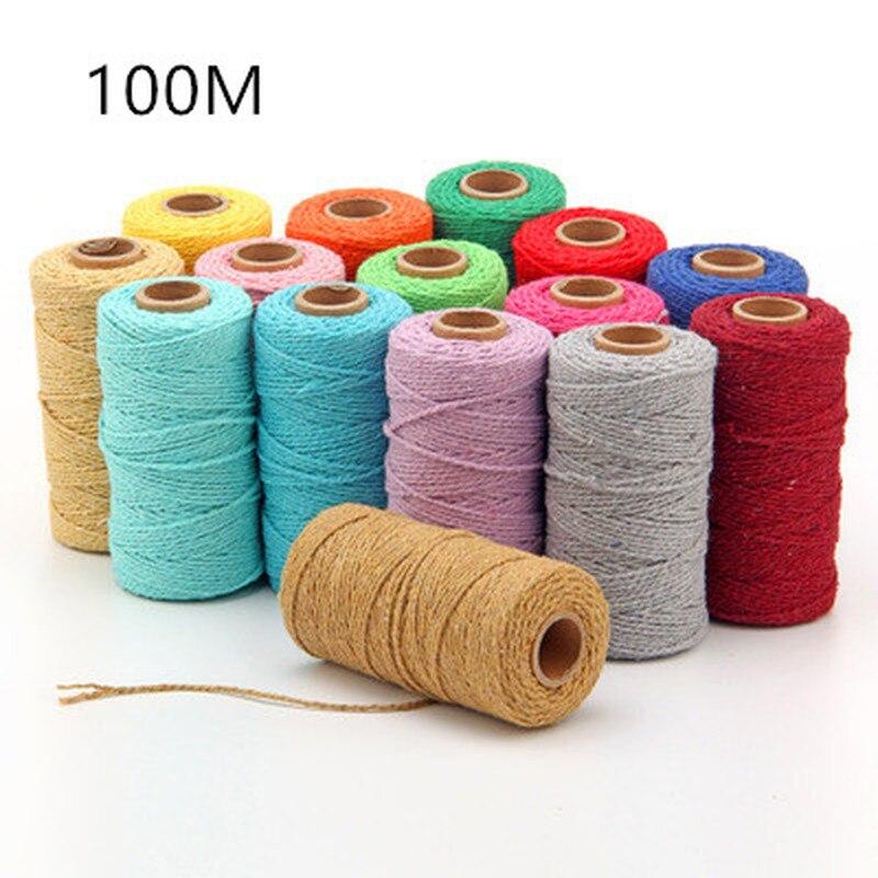 Новый плетеный шнур для макраме длиной 100 м/100 ярда, плетеный шнур из чистого хлопка, ремесленный шнур для макраме, разноцветный шнур из хлопк...