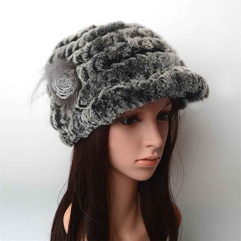 Зимние осенние теплые утепленные меховые шапки повседневные меховые женские русские козырьки шапочки вязаные шапочки Кролик меховой цветок полосатая женская шапка - Цвет: 2