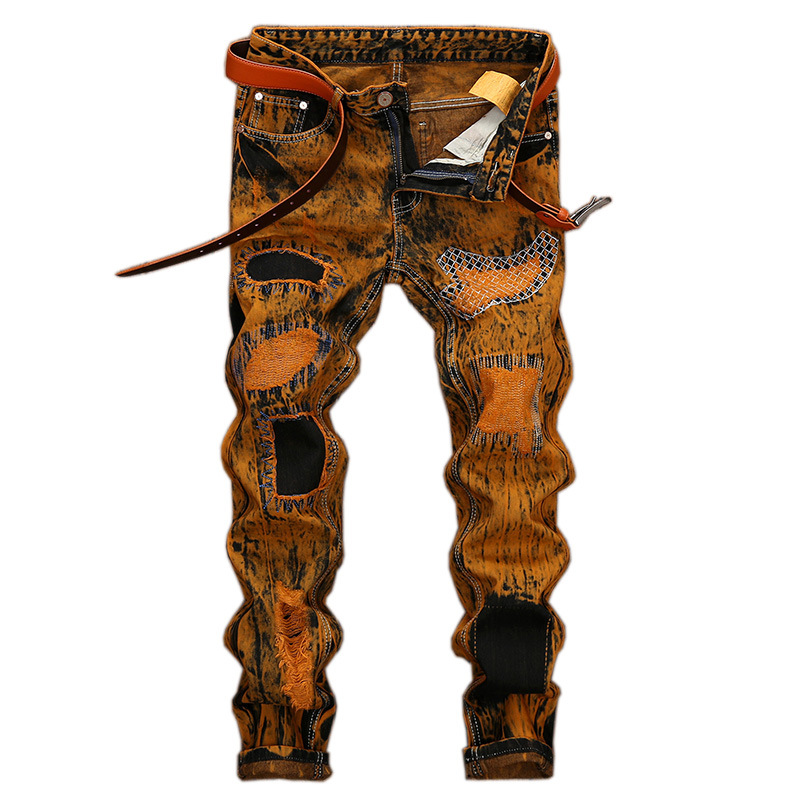 New Fashion Retro Jeans Tide Denim Pants Straight Men's Jeans Yellow Printed Embroidery Ripped Jeans Male Hole Personality Slim
