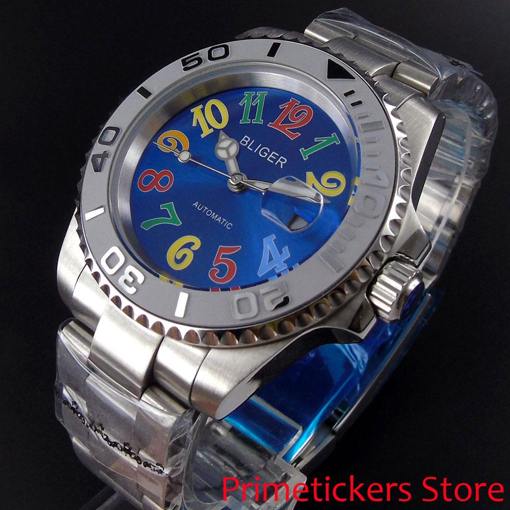 Blue dial BLIGER 40mm ceramic bezel luminous stainless steel strap sapphire glass automatic movement mens watch