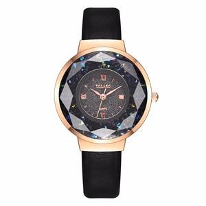 Image 4 - YOLAKO Women Leather Moving Diamond Watch Luxury Ladies Quartz Wrist Watches Clock Reloj Mujer Relogio Feminino