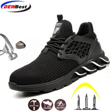 Nieuwe Stijl Stalen Neus Veiligheid Werkschoenen voor Mannen Punctie Proof Beveiliging Laarzen Man Ademend Licht Industriële Casual Sneakers(China)