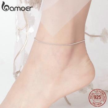 BAMOER gorąca sprzedaż proste niezbędne koralik Link Anklets 925 srebro bransoletka dla biżuteria na stopy srebrny łańcuch kobiet SCT002
