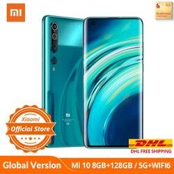 Versão Global Xiaomi Mi 10 5G SA/NSA Qualcomm 865 8GB 128GB / 256GB smartphone WiFi 6 LPDDR5 UFS 3.0 108MP Pro Camera 8K Video Record NFC Google Pay AMOLED Display
