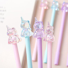 3 pcs/lot Crystal Unicorn Gel Pen Cute 0.5mm black Ink Neutral Pen Stationery gift Material Office School writing Supplies