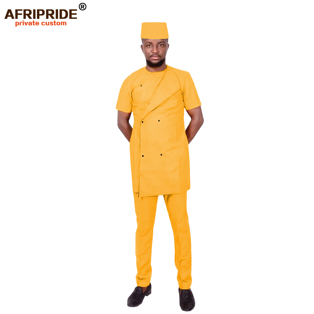 2019 African Men Clothing Traditional Set Dashiki Outfit Short Sleeve Coat Pants Tribal Hat Tracksuit Wax AFRIPRIDE A1916023