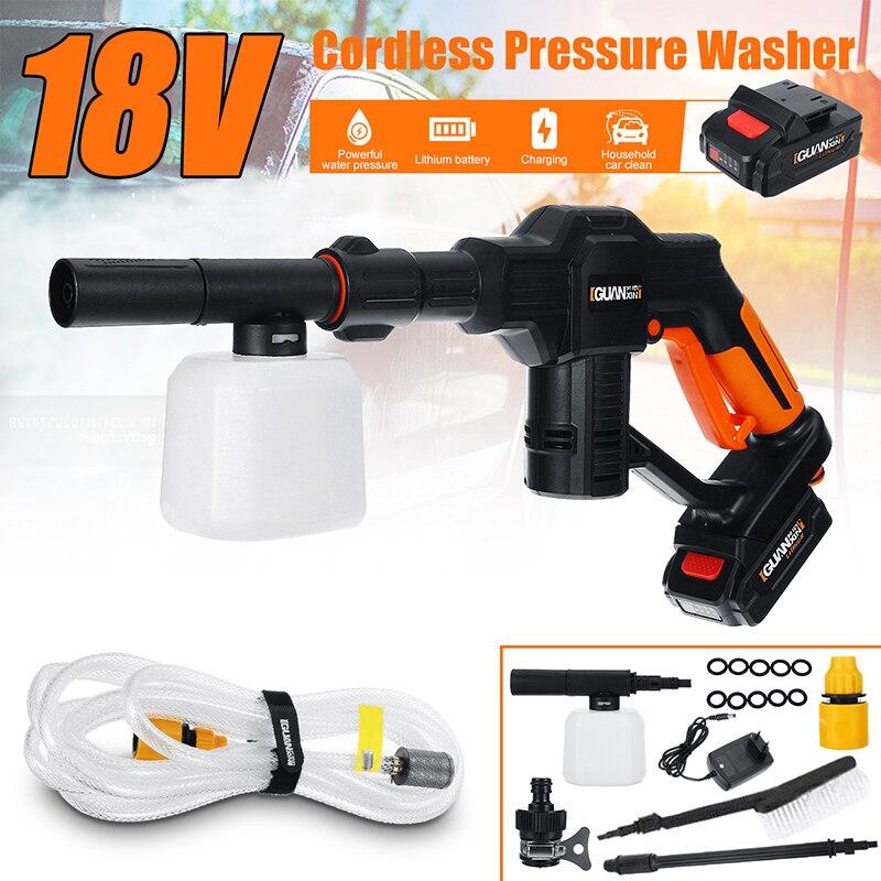 18V Portable Cordless Car Washer Machine 12V High Pressure Electric Water Guns Nozzle Hose Pump Foam Lance Battery Rechargable