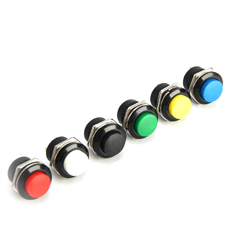 10pcs Push button switch button jog switch R13-507 16MM red green round lockless reset switch